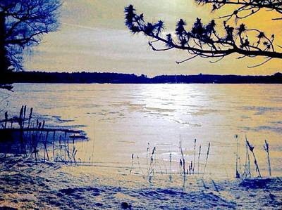 Digital Art - Pale Apricot Light Over Lake Ice - Horizontal by Lyn Voytershark