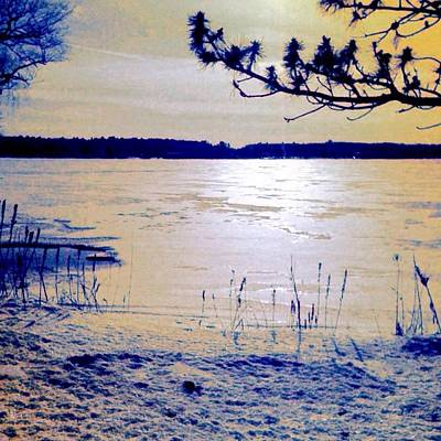 Painting - Pale Apricot Light Over Lake Ice - Square by Lyn Voytershark