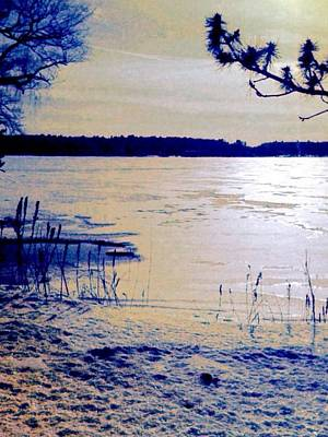 Digital Art - Pale Apricot Light Over Lake Ice - Vertical by Lyn Voytershark