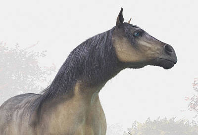 Fog Mist Digital Art - Pale Blue-eyed Horse by Daniel Eskridge