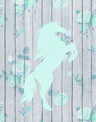 Pale Blue Horse Art Print