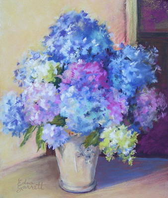 Drawing - Pale Blue Hydrangeas  by Edna Garrett