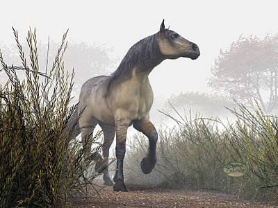 Animals Photos - Pale Horse in the Mist by Daniel Eskridge