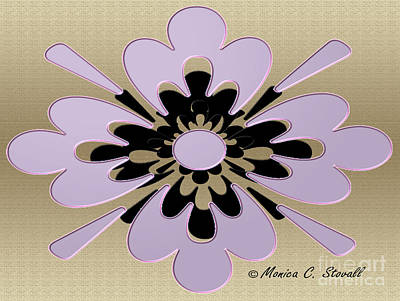 Digital Art - Pale Lilac On Gold Floral Design by Monica C Stovall