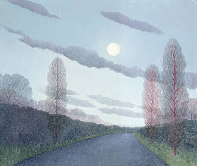 Moonlit Night Photograph - Pale Moon, 2002 Oil On Canvas by Ann Brain