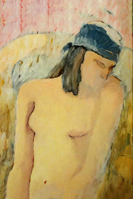 Nude Woman Torso Painting - Pale Nude by Lutz Baar