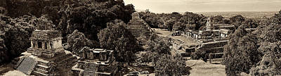 Photograph - Palenque From The Jungle Panorama Sepia by Weston Westmoreland