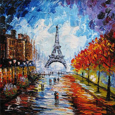 City Lanscape Painting - palette knife painting Paris Eiffel tower by Enxu Zhou
