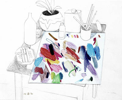 Drawing - Palette On Table by Mark Lunde
