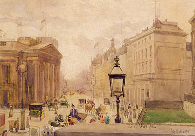 Street Lamps Drawing - Pall Mall From The National Gallery by Joseph Poole Addey