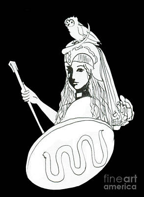 Warrior Goddess Drawing - Pallas Athena Ink Drawing With Attributes by Christina Rahm