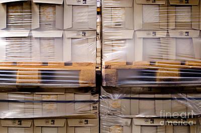 Wrap Digital Art - Pallets Of Shrink Wrapped Boxes by Glenn Morimoto