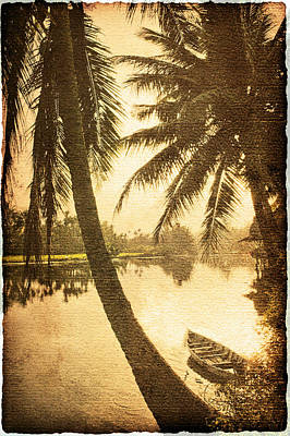 Palm And Boat Art Print by Skip Nall