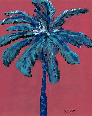Palm On Pink  Art Print by Oscar Penalber