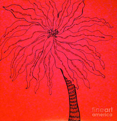 Drawing - Palm Red by Anita Lewis