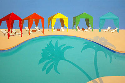 Pool Painting - Palm Shadow Cabanas by Karyn Robinson