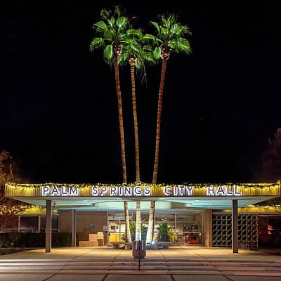 Modern Photograph - Palm Springs City Hall By Night by Mark Coggins