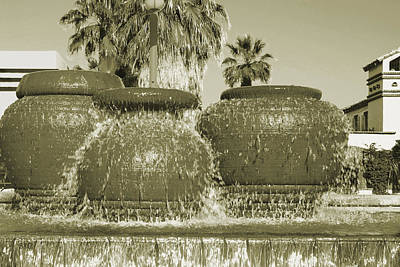 Pottery Water Fountain Photograph - Palm Springs Fountain by Ben and Raisa Gertsberg