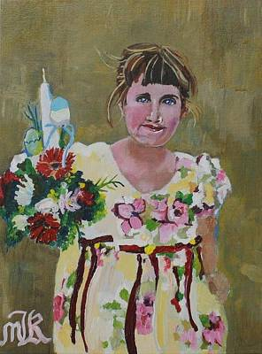 Painting - Palm Sunday Palestinian Girl by Marwan  Khayat