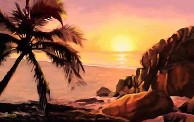 Mombasa Painting - Palm Sunset by Anthony Mwangi