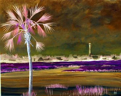 Painting - Palm Tree 0n Causeway by Virginia Bond