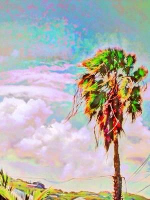 Digital Art - Palm Tree Against Pastel Sky - Vertical by Lyn Voytershark