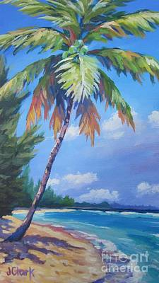 Palm Tree And View East    Art Print by John Clark