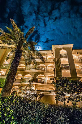 Firefighter Patents - Palm Tree At Night Near Hotel by Alex Grichenko