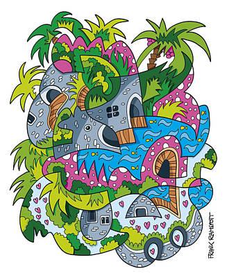 Humor Digital Art - Palm Tree Fantasy Landscape Doodle by Frank Ramspott