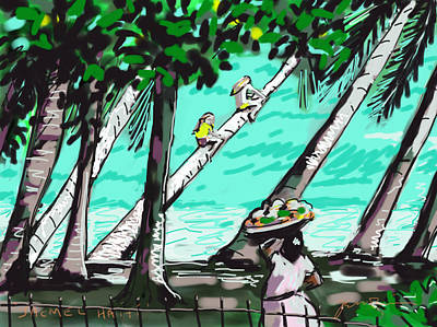 Jacmel Haiti Painting - Palm Tree Rocket by Jean Pacheco Ravinski