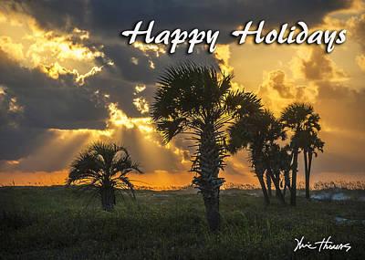 Digital Art - Palm Tree Sunrise by Michael Thomas