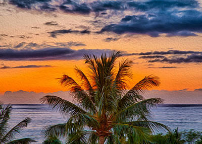 Painting - Palm Tree Sunset by Omaste Witkowski