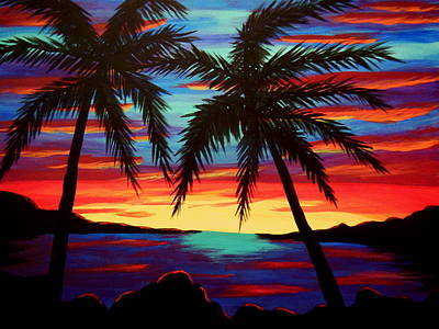 Palm Tree Sunset Art Print by Virginia Forbes