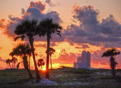 Digital Art - Palm Trees And Orange Beach by Michael Thomas