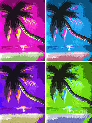 Vivid Colour Painting - Palm Trees By Shawna Erback by Shawna Erback