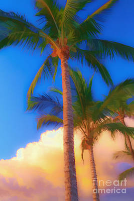 Tropical House Photograph - Palm Trees Hawaii Watercolor by Edward Fielding
