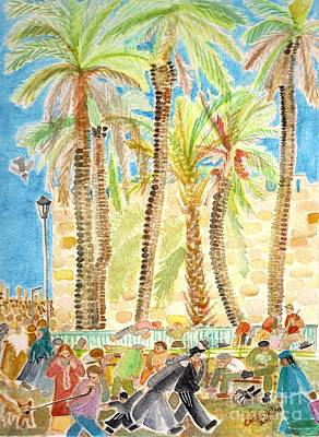 Painting - Palm Trees Jerusalem  by Chana Helen Rosenberg