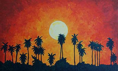 Painting - Palm Trees With Setting Sun by Lone Quixote