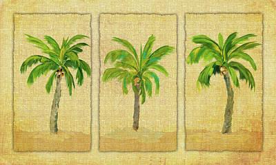 Linen Wall Art - Digital Art - Palm Trio by Julie Derice