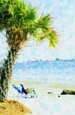 Beach Landscape Mixed Media - Palm View by Florene Welebny
