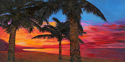 Seacape Painting - Palme Al Tramonto by Guido Borelli