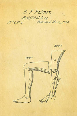 Palmer Artificial Leg Patent Art 1846 Art Print by Ian Monk