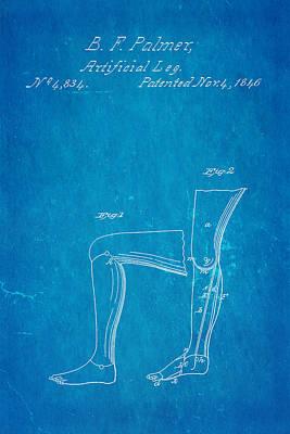 1846 Photograph - Palmer Artificial Leg Patent Art Blueprint 1846 by Ian Monk