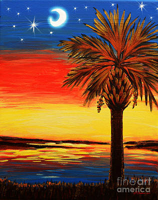 Painting - Palmetto Moon And Stars by Patricia L Davidson