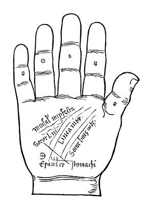 Palmistry Chart, 1531 Art Print