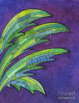 Banana Painting - Palms Against The Night Sky by Diane Thornton