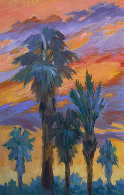 Painting - Palms And Sunset by Diane McClary