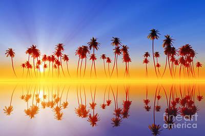 Coastline Digital Art - Palms At Sunset by Aleksey Tugolukov