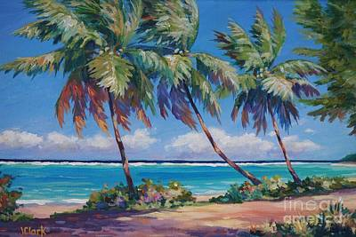 Cuba Painting - Palms At The Island's End by John Clark