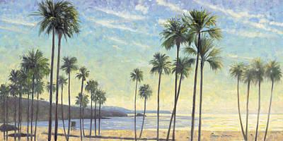 Del Mar Wall Art - Painting - Palms Bursting In Air by Steve Simon
